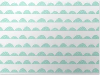 Plakát HD Scandinavian bezešvé máta vzor ve stylu ručně kreslenou. Stylizované kopec řádky. Mávat jednoduchý vzor pro tkaniny, textilie a dětského prádla.