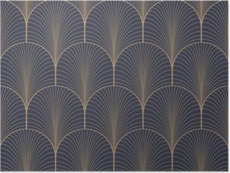 Plakát HD Vintage tan modrá a hnědá bezproblémové art deco tapeta vzor vektor