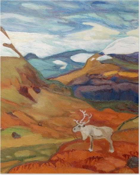 Plakat Helmer Osslund - Jesienny pejzaż z reniferem - Reproductions
