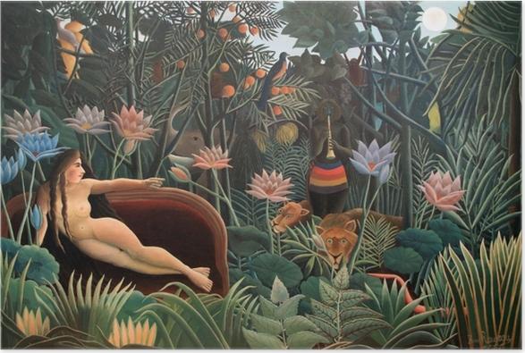 Plakat Henri Rousseau - Artysta malujący swoją żonę - Reprodukcje