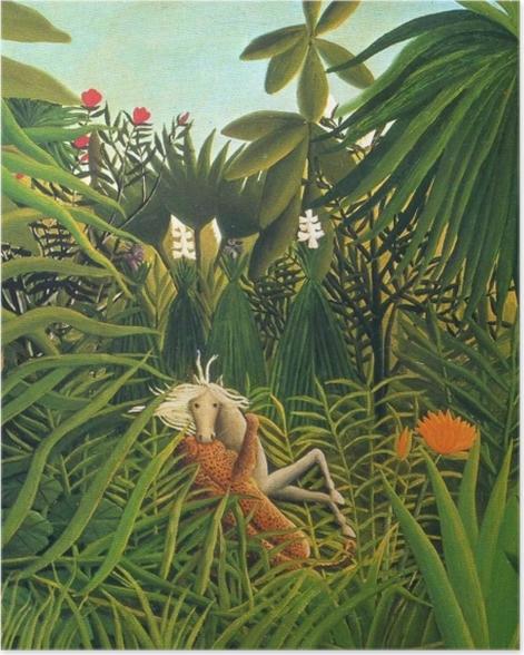 Plakat Henri Rousseau - Jaguar atakujący konia - Reproductions