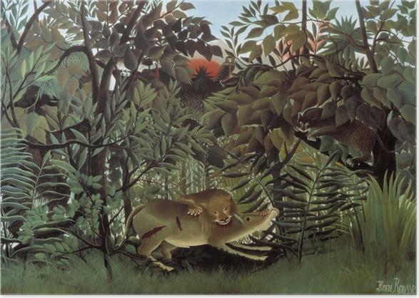 Plakat Henri Rousseau - Lew, zgłodniawszy, rzuca się na antylopę - Reprodukcje