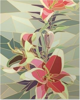 Plakat Ilustracji wektorowych z kwiatów różowy lilia.