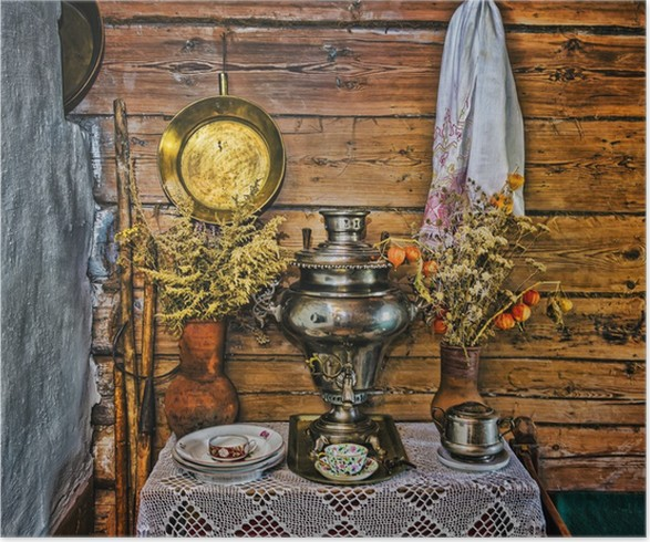 Plakát Interiér ruské srub s prvky starého způsobu li - Domov a zahrada