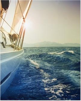 Plakat Jacht żaglowy przeciwko sunset.sailboat.sepia stonowanych
