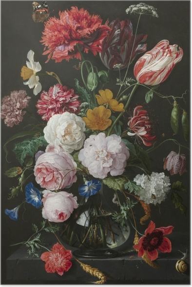 Plakat Jan Davidsz - Still Life with Flowers in a Glass Vase - Reprodukcje