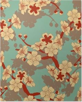 Plakat Japoński styl bez szwu dachówka z gałęzi wiśni i kwiatów wzór w kości słoniowej i niebieski i czerwony