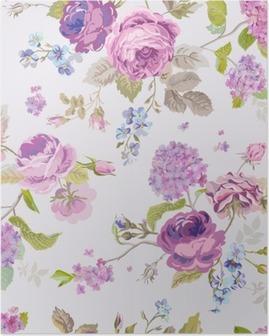 Plakát Jarní květiny pozadí - bezešvé květinový vzor Shabby Chic