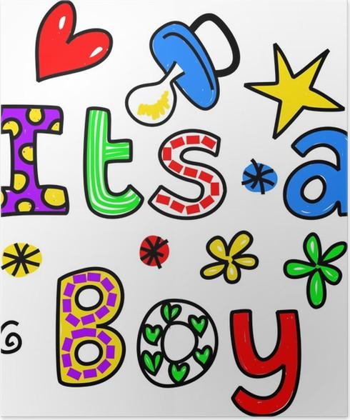 Plakát Je to chlapec Cartoon Text kliparty - Osud