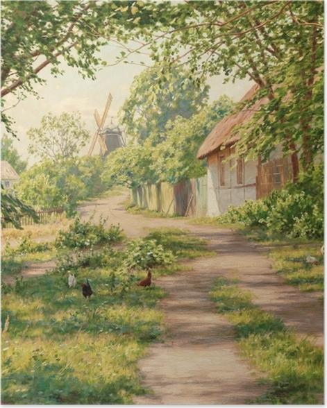 Plakat Johan Krouthén - Letni pejzaż w wiatrakiem - Reproductions