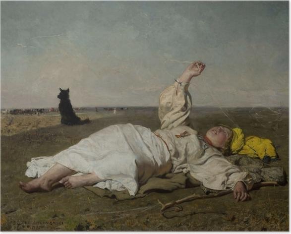 Plakat Józef Chełmoński - Bociany (babie lato) - Reproductions
