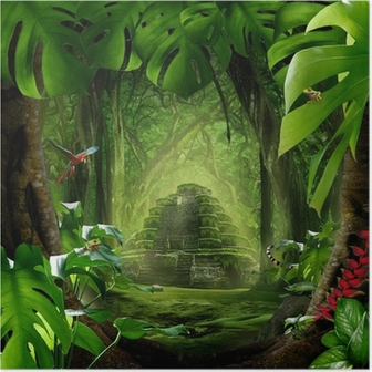 Plakat Jungle - piramidy