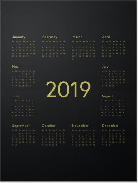 Plakát Kalendář 2019 - černá -