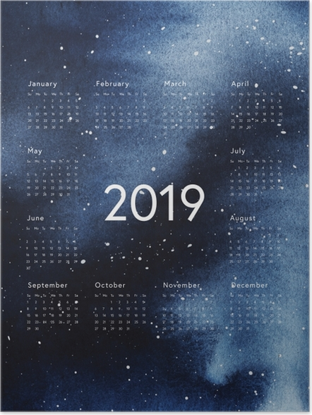 Plakát Kalendář 2019 - galaxy -