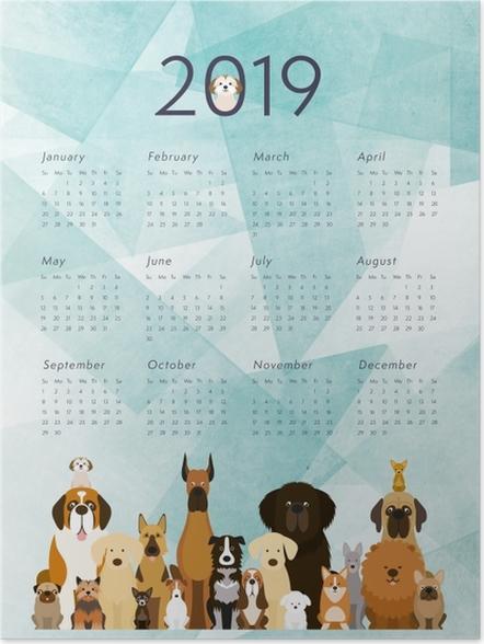 Plakát Kalendář 2019 – Psi -