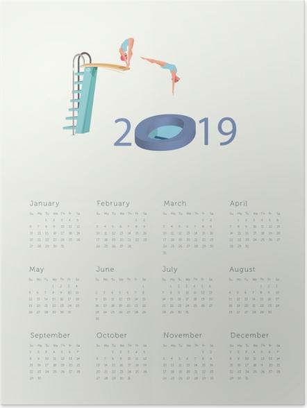 Plakát Kalendář 2019 - skok do nového roku -