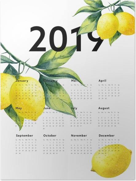 Plakat Kalendarz 2019 - cytryny - Kalendarze 2018