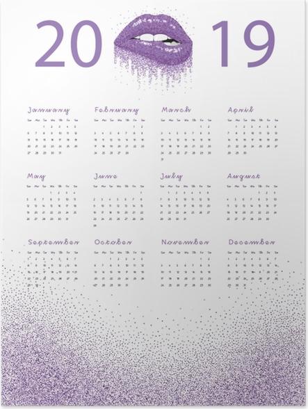 Plakat Kalendarz 2019 - fioletowe usta - Kalendarze 2018