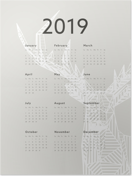 Plakat Kalendarz 2019 - jeleń - Kalendarze 2018