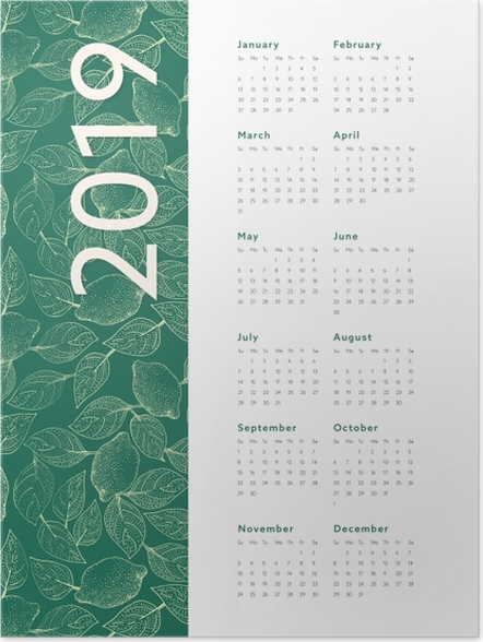 Plakat Kalendarz 2019 – Liście - Kalendarze 2018