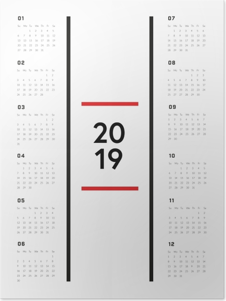 Plakat Kalendarz 2019 - Minimalistyczny - Kalendarze 2018