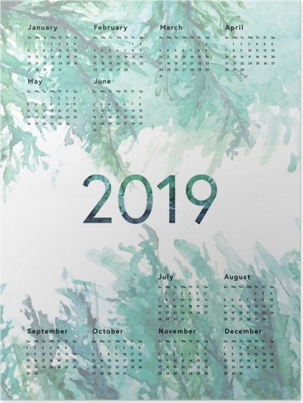 Plakat Kalendarz 2019 - Zielony - Kalendarze 2018
