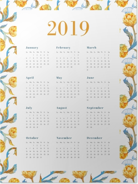 Plakat Kalendarz 2019 – Żółte kwiaty - Kalendarze 2018