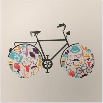Plakat Klasyczne biodrówki icons rowerze.
