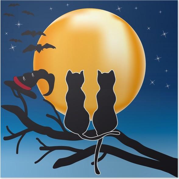 Plakát Kočky pár s novým měsícem - Mezinárodní svátky