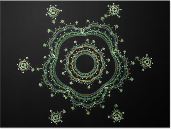 Plakát Komplex květinový fraktální 3d - Abstraktní