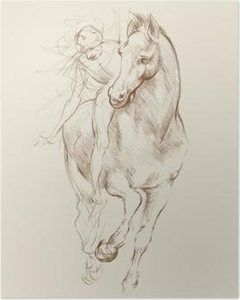 Plakat Konia i jeźdźca. Na podstawie rysunku Leonarda da Vinci