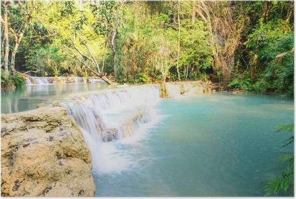 Plakát Kouangxi vodopád v Luang Prabang v Laosu. - Voda