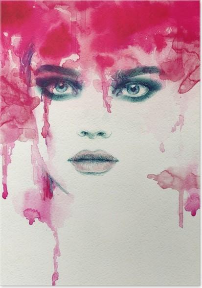 Plakát Krásná žena. akvarel ilustrace - Lidé