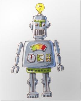 Plakat Kreskówka akwarela doodle robota