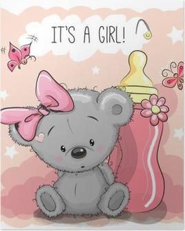 Plakat Kreskówka Niedźwiedź dziewczyny