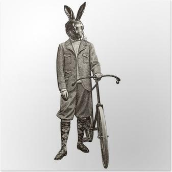 Plakat Królik na rowerze