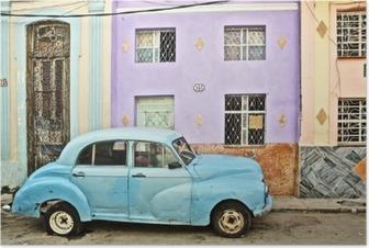 Plakat Kuba, La Habana, w podziale rocznika samochodu