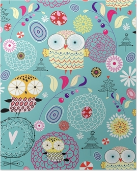 Plakát Květina textura s sov