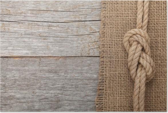 Plakát Lano loď na dřevěné textury pozadí - Oceánie