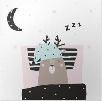 Plakát Legrační jelena spala v posteli. vektor ručně kreslené ilustrace.