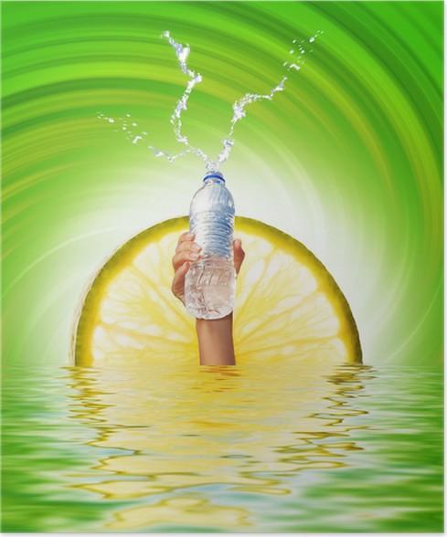 Plakát Lidská ruka drží láhev s vodou - Části těla