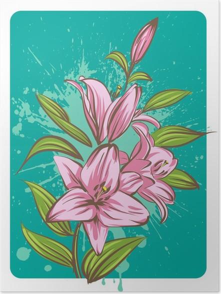 Plakát Lilie květ na pozadí grunge - Květiny