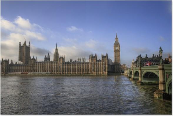 Plakát Londýn - Big Ben / Houses of Parliament - Evropská města