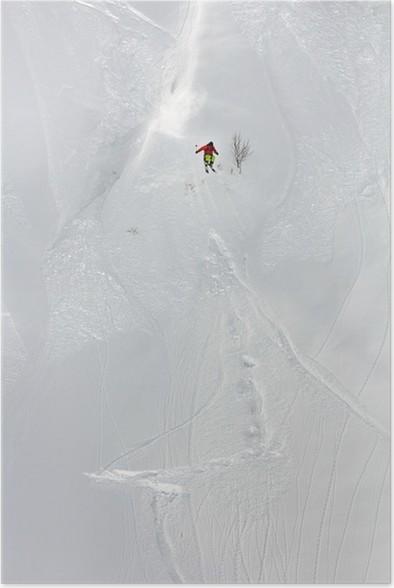 Plakát Lyžař v hlubokém prašanu, extrémní freeride - Snowboard a lyžování