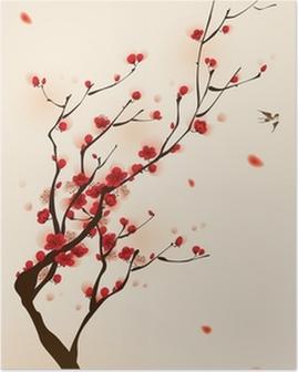 Plakat Malarstwo styl orientalny, kwiat śliwy na wiosnę