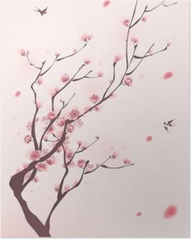 Plakat Malarstwo styl orientalny, kwiat wiśni wiosną