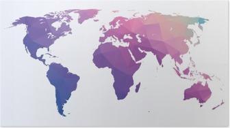 Plakat Mapa świata wielokąta