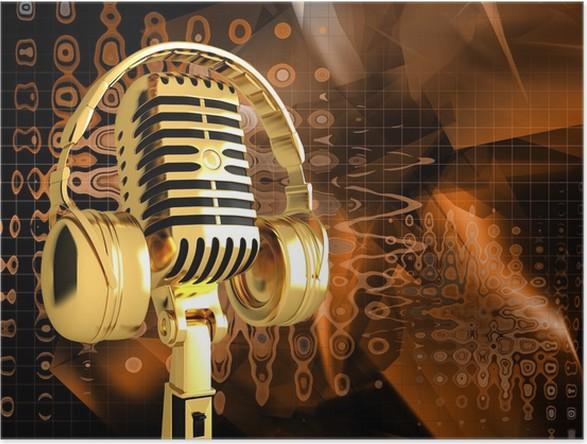 Plakát Mikrofon na abstraktní hudební pozadí - Hudba