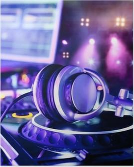 Plakat Mikser DJ ze słuchawkami