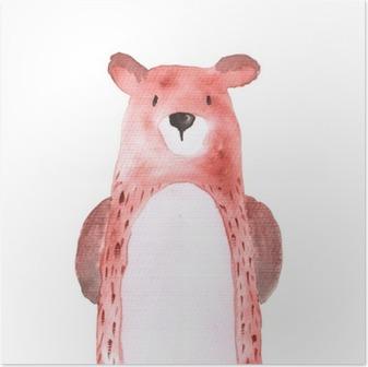 Plakat Miś lasu Zwierzęta Akwarele ręcznie malowane Illustratioin Izolowane